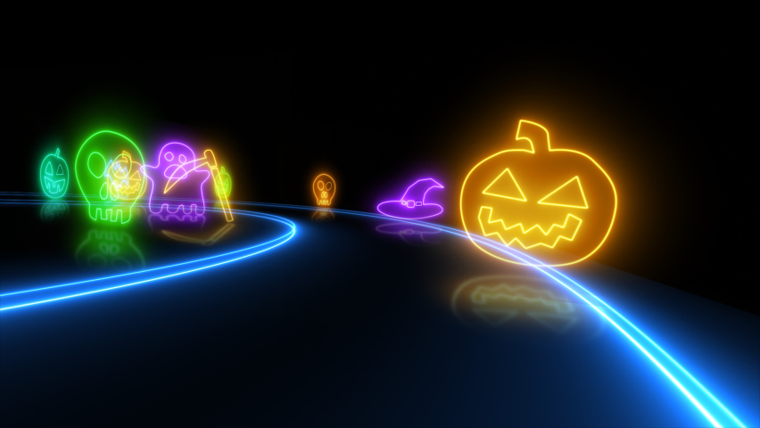 Happy Halloween banner or party invitation background with neon light Halloween neon sign collection. Halloween Party Design loop template.   Shutterstock HD Video #1061221645