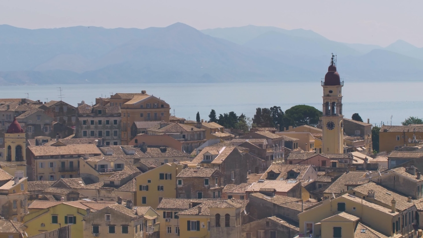Panorama of capitol of Corfu. View of old town and old fort, Greece   Shutterstock HD Video #1061226556