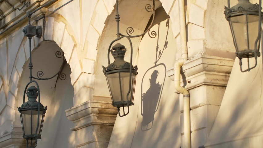 Streets of Corfu Town, architecture of Corfu old town, Greece.   Shutterstock HD Video #1061227135