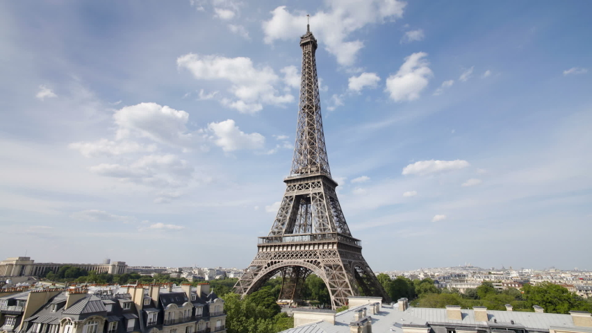 The world famous Eiffel Tower in natural light, Paris, France, Europe. | Shutterstock HD Video #1061229694