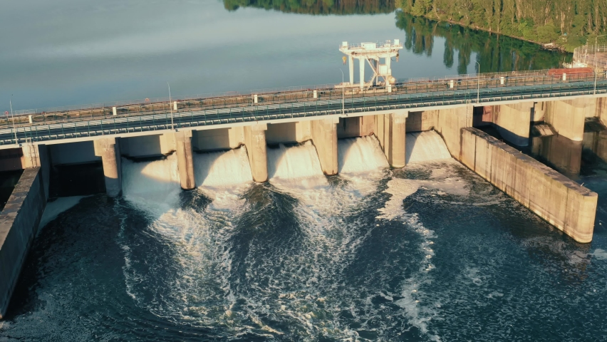 Hydroelectric dam, aerial view from drone Royalty-Free Stock Footage #1061231371