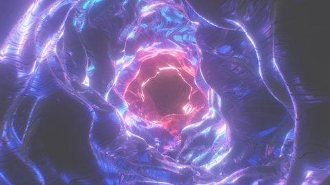 Abstract Sci-Fi Portal Futuristic Trippy Endless Tunnel Alien Cave - 4K Seamless Loop Motion Background Animation