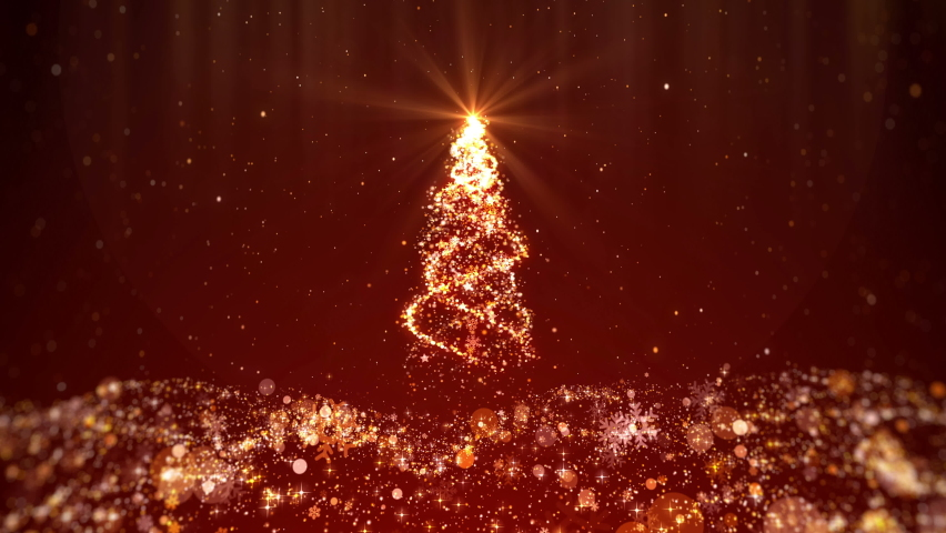 Red glittering christmas background looped with christmas tree shiny lights, snowflakes, star and particles moving down. 4K video motion graphic background. | Shutterstock HD Video #1061240803