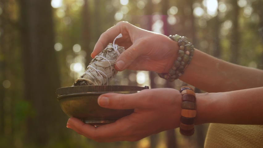 Occult science and supernatural concept - young woman or witch with smoking white sage performing magic ritual in forest | Shutterstock HD Video #1061244133