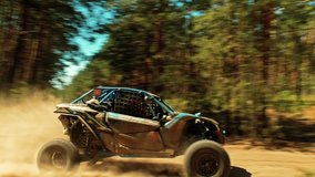 Cinematic clip of a buggy car going in cross country road. Fast buggy is driving with big clouds of dust. Speed riding of a racing off-road car in the forest road, with a sound of engine.