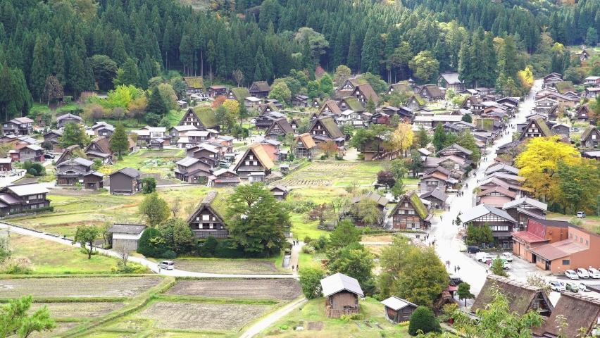 The Villages of Shirakawa-gō gassho-zukuri is famous sightseeing spot in Japan. This place has been registered as a UNESCO World Heritage Site. | Shutterstock HD Video #1061257135