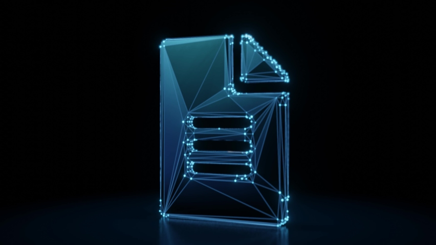 3d rendering 4k fly through wireframe neon glowing symbol of paper with bent corner and text with bright dots on dark background with blured reflection on floor | Shutterstock HD Video #1061279731