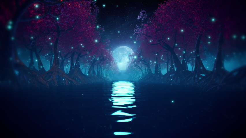 Sci-fi futuristic forest seamless loop with river, mangrove trees and alien technology. Flythrough in night landscape with bright moon and glowing rings. 3D animation for EDM music video, DJ set, club Royalty-Free Stock Footage #1061286547
