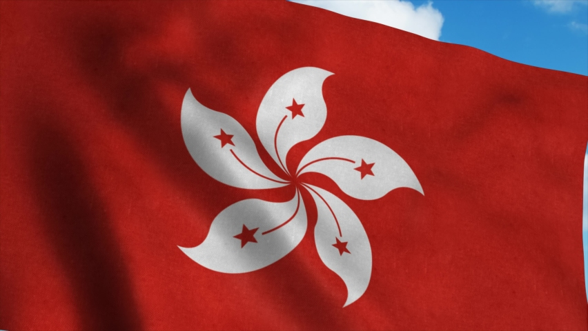 The national flag of Hong Kong waving in the wind, blue sky background. 4K   Shutterstock HD Video #1061291821