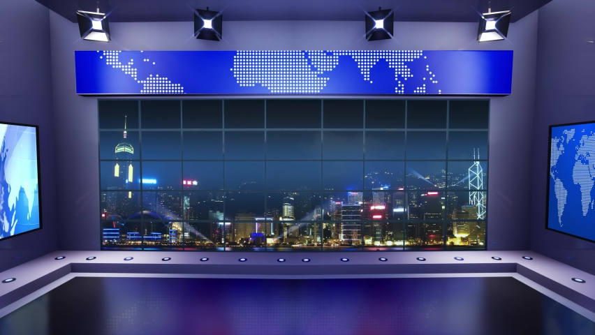 3d virtual news studio. Announcer Table with night city background and floodlights | Shutterstock HD Video #1061297062