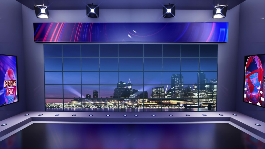 3d virtual news studio with night city background and floodlights Loop | Shutterstock HD Video #1061297074