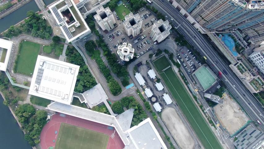 Aerial view of Hong Kong Sha Tin waterfront mega residential buildings.   Shutterstock HD Video #1061297209