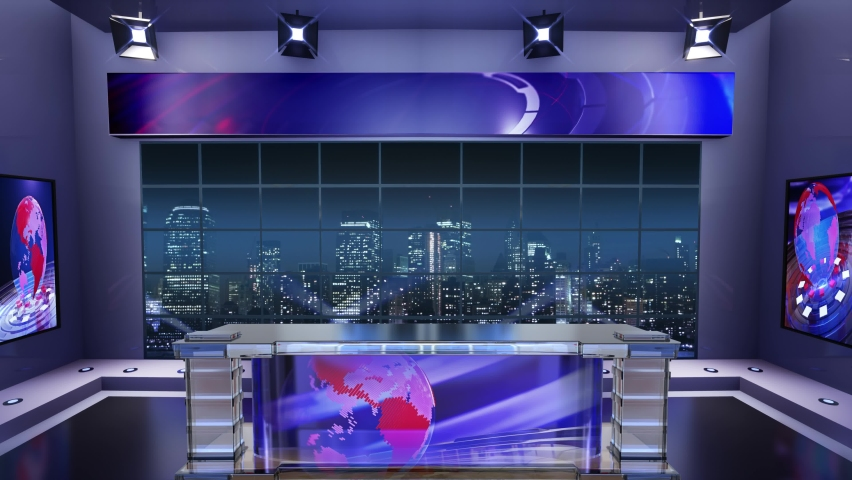3d virtual news studio. Announcer Table with night city background and floodlights | Shutterstock HD Video #1061297323