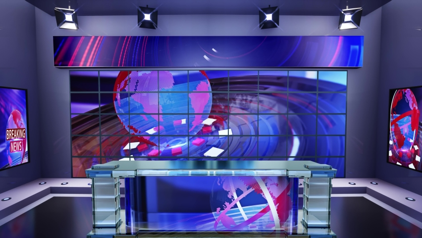 3D virtual news studio with news background Loop 4k | Shutterstock HD Video #1061297593