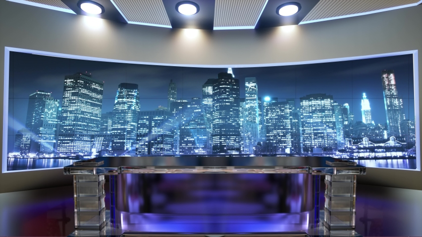 3d virtual news studio. Announcer Table with night city background and floodlights | Shutterstock HD Video #1061297806
