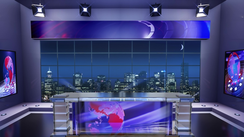 3d virtual news studio. Announcer Table with night city background and floodlights | Shutterstock HD Video #1061297809