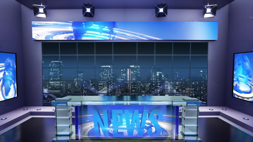 3d virtual news studio. Announcer Table with night city background and floodlights | Shutterstock HD Video #1061297812