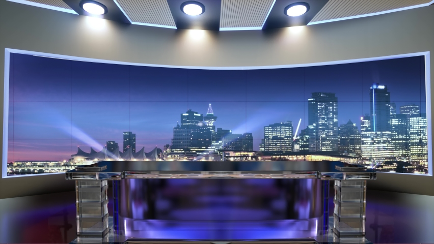 3d virtual news studio. Announcer Table with night city background and floodlights | Shutterstock HD Video #1061298073