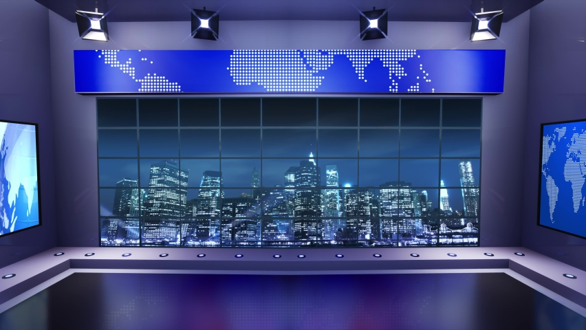 3d virtual news studio. Announcer Table with night city background and floodlights | Shutterstock HD Video #1061298079