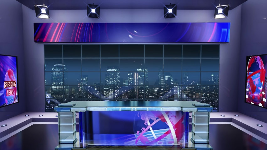 3d virtual news studio. Announcer Table with night city background and floodlights | Shutterstock HD Video #1061298082
