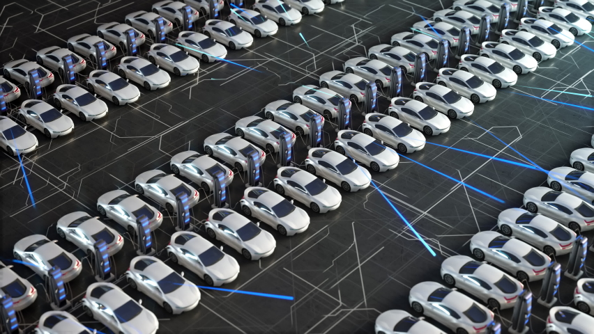 Parking lot with electric charging stations for electric vehicles. Aerial view of new electric self driving cars on car on a huge car dealership parking lot.