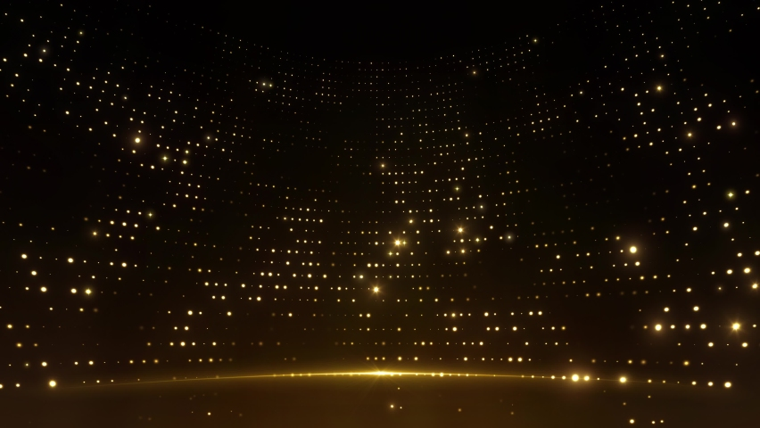 Sharp design golden stage glitter animation with stars, lights and particles. Perfectly looping.