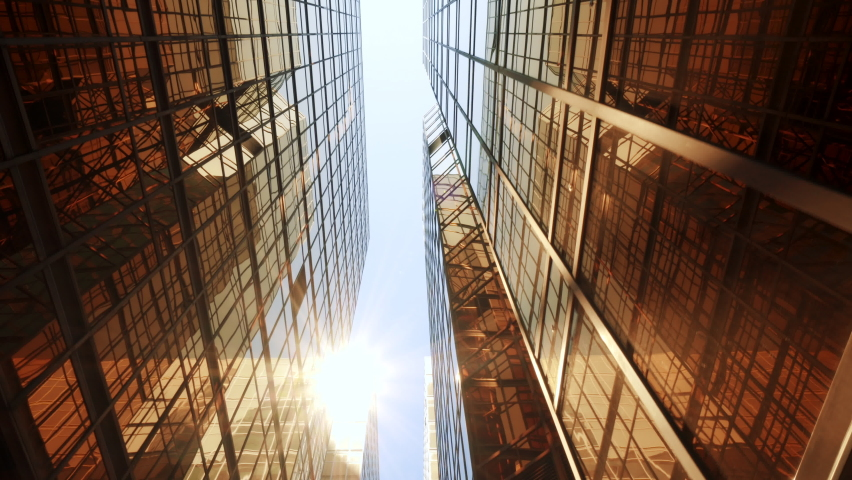 Vertical View of Modern High Rise Skyscraper Buildings in the City. Business District Economy Development Growth Background Hong Kong City Skyline   Shutterstock HD Video #1061304613