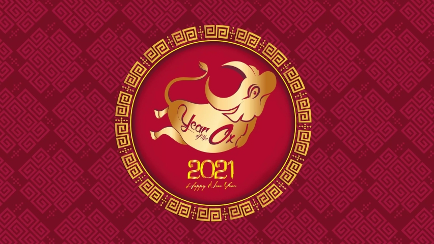 Chinese new year 2021 year of the ox , red paper cut ox character,flower and asian elements with craft style on background   Shutterstock HD Video #1061318647
