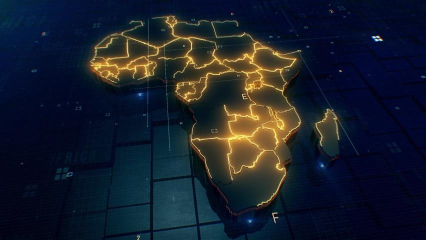 Africa map Digital background Loop 4k  Royalty-Free Stock Footage #1061319007