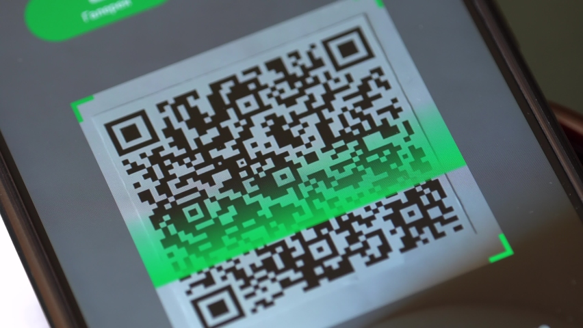 Scanning a QR code. Smartphone screen close up. The app scans the QR code Royalty-Free Stock Footage #1061324581