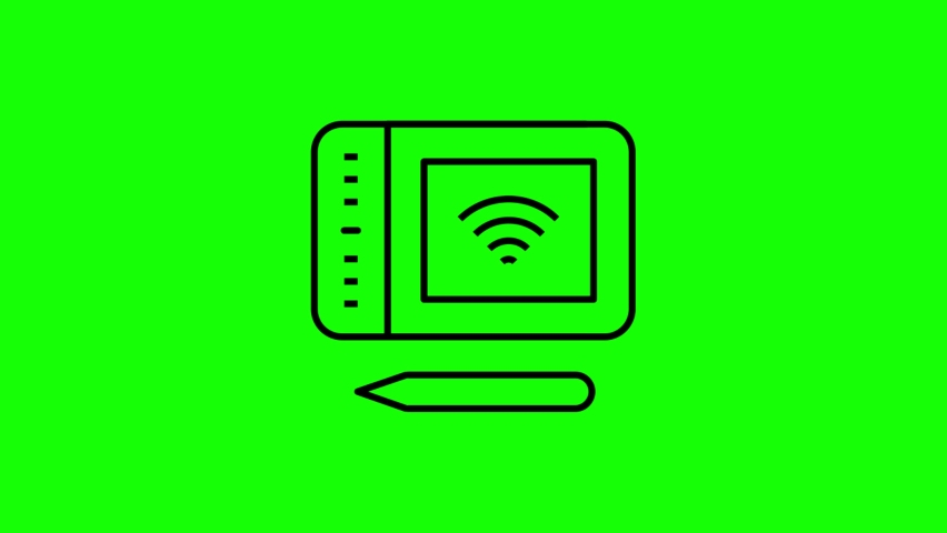 Wireless drawing line icon animation on the green screen background.4K video.Chroma key.Useful for website, banner, greeting cards, apps, and social media posts. | Shutterstock HD Video #1061332228