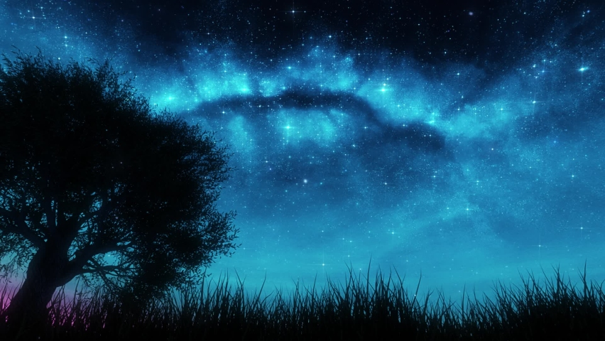 Nature Landscape under a Blue Starry Sky Loop Background Royalty-Free Stock Footage #1061354344