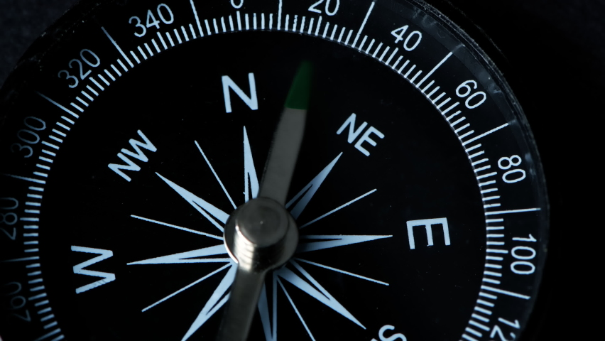 A compass with a green arrow that shows the direction. Concept of travel, adventure, expedition, business, choice and possibilities. | Shutterstock HD Video #1061365507