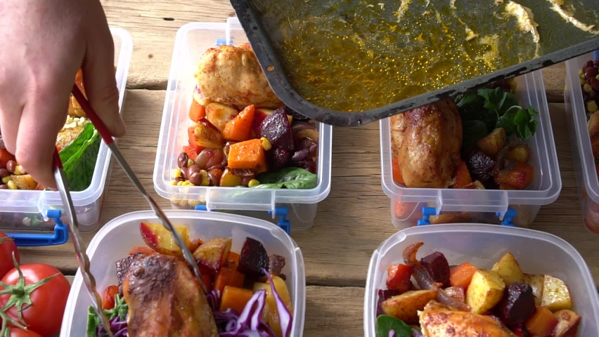 Healthy Meal Prep. Homemade food. Reusable Takeaway Containers and Lunch Box. Packing a Zero Waste Lunch. Food Delivery, Restaurant Takeout, Order Food Royalty-Free Stock Footage #1061365993