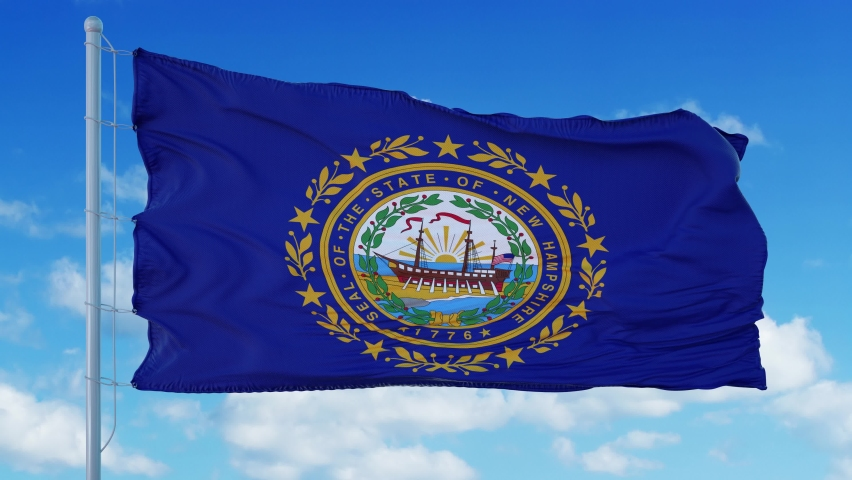 New Hampshire flag on a flagpole waving in the wind, blue sky background. 4K