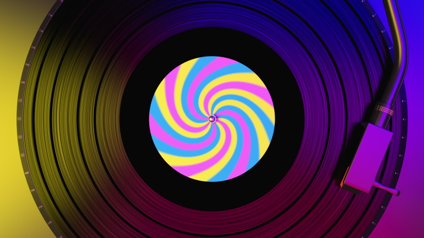Black vinyl record spinning and play music on the dj turntable with colorful label in the center of the plate. Top view to vinyl disc with popular disco trends 60s, 70s, 80s, 90s, loop 3d animation.