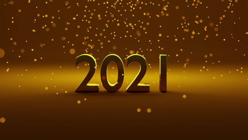 Number 2021 of gold color is placed on gradient gold background. Particles of light are falling from top side. Concept of celebration for new year 2021. Happy new year greeting image. 3D render. Royalty-Free Stock Footage #1061381569