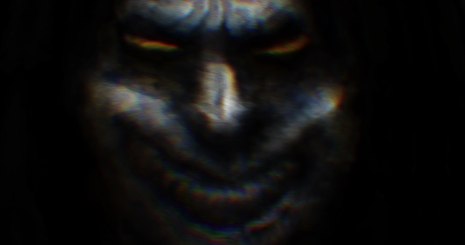 Scary monsters with spooky faces. Collection of animations in horror fantasy genre. Motion graphics with demonic characters. Animated video clip nightmares for Halloween. Creepy abstract background.