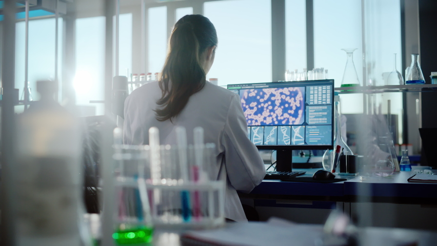 Medical Science Laboratory with Diverse Team of Professional Biotechnology Scientists Developing Drugs, Female Biochemist Working on Computer Showing Gene Therapy Interface. Back view Shot Royalty-Free Stock Footage #1061389489