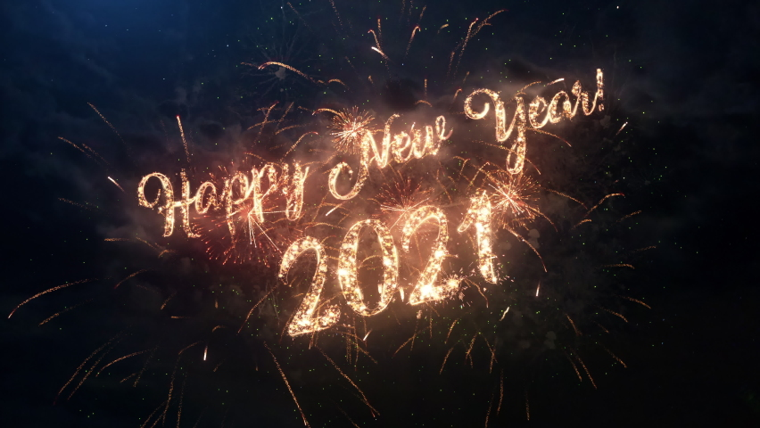 2021 Happy New Year greeting text with particles and sparks on black night sky with colored slow motion fireworks on background, beautiful typography magic design. Royalty-Free Stock Footage #1061394112