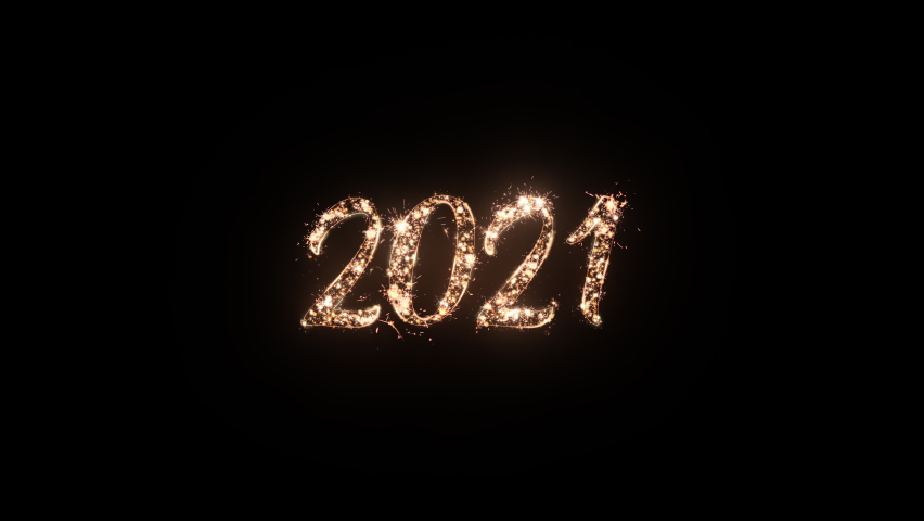 2021 Happy New Year greeting text with particles and sparks on black background, beautiful typography magic design. | Shutterstock HD Video #1061394115