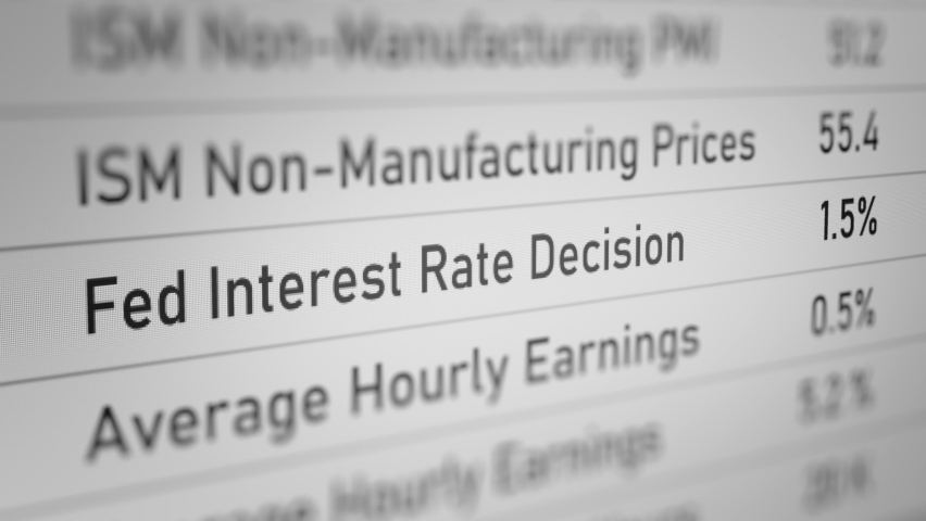 Animated Number of Fed Interest Rate Decision (Economic Calendar). All data on the Footage are Fictional, Created Especially for This Concept. Royalty-Free Stock Footage #1061420794