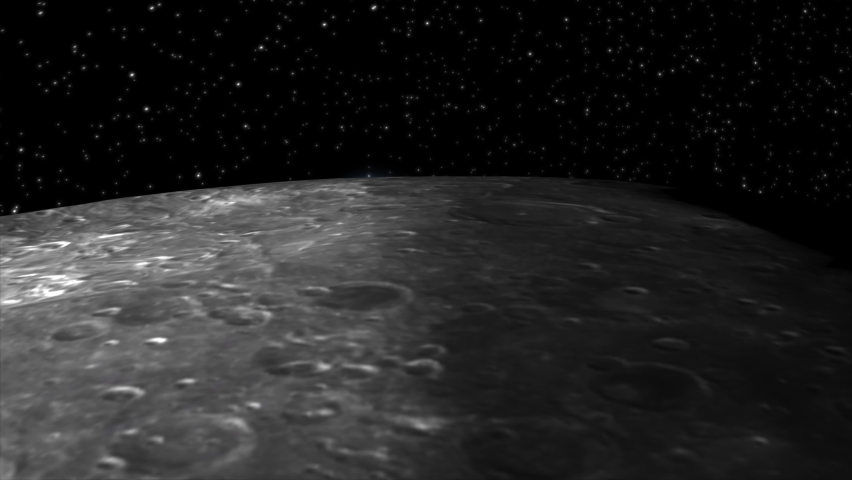 3D CGI simulation of the Earthrise  classic view of the Earth rising above the horizon of the moon,