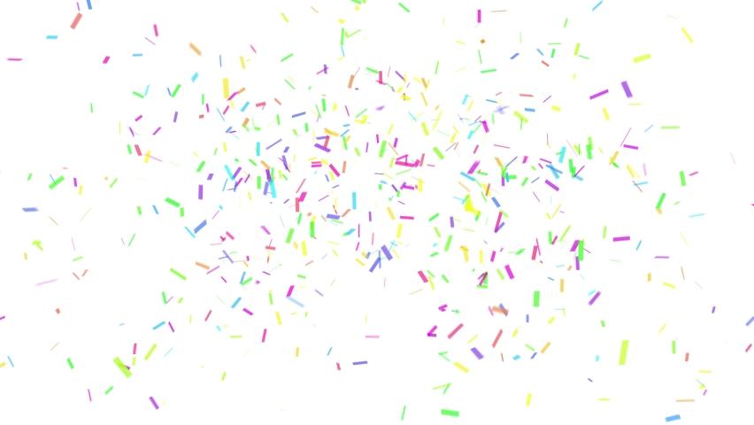 Colorful rainbow confetti explosion, mask included. Digital animation. Luma matte