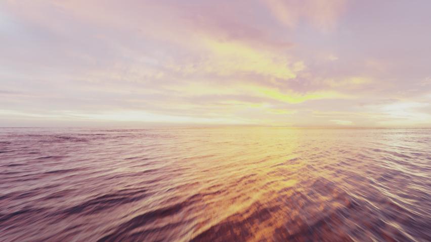 Drone flight over sea, sunset aerial shot slide ocean surface in sunrise golden hour. Dynamic shot with cinematic camera tilt, sun on horizont, pink sky, 3D | Shutterstock HD Video #1061464039