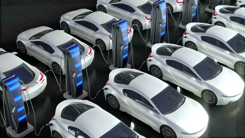 The car is parked at an electric charging station. Parking for electric vehicles. Royalty-Free Stock Footage #1061464879