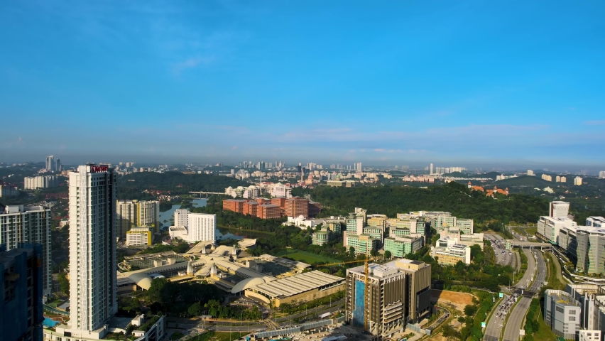 Aerial Drone 4K UHD anamorphic with Desqueeze factor of 1.15x 1.33x view of Putrajaya city and administration office building during morning sunrise. | Shutterstock HD Video #1061475523