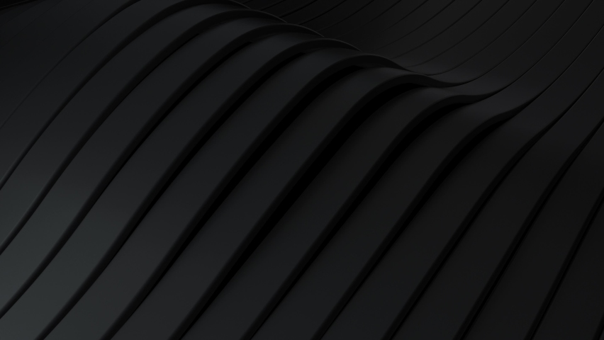 Abstract background with black wavy stripes. Abstract cut paper rippling stripes. Modern black background template for documents, reports and presentations. Sci-Fi Futuristic. 3d animation loop of 4K Royalty-Free Stock Footage #1061476114