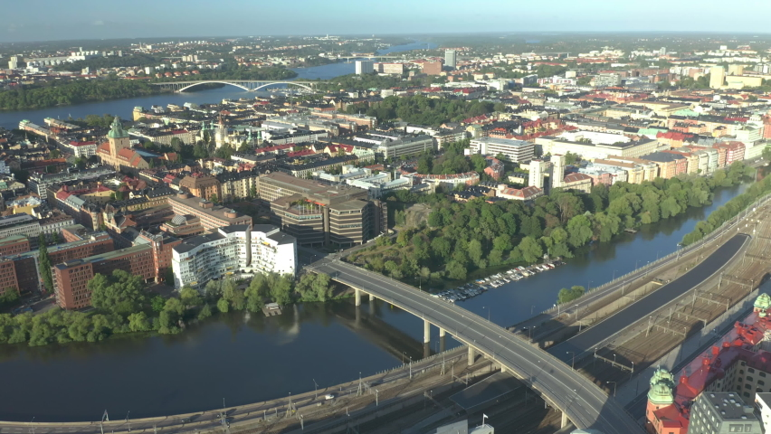Kungsholmen, Stockholm, aerial drone footage of the Capital of Sweden.  | Shutterstock HD Video #1061476441