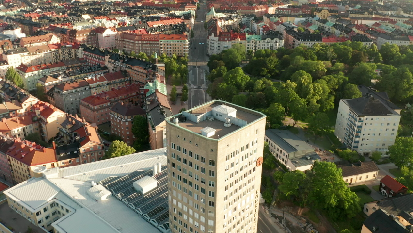 Aerial view of Vasastan, Stockholm, flying over buidlings in the Swedish capital | Shutterstock HD Video #1061476447